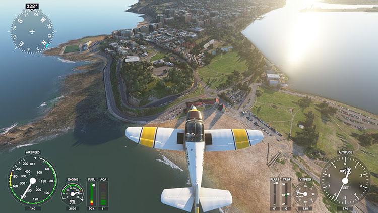 Newcastle's Nobbys Beach from the air in Microsoft Flight Simulator