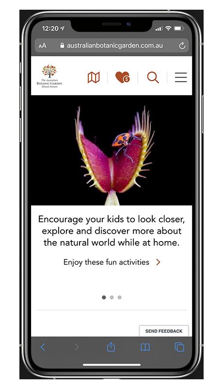 iPhone 11 Pro Max showing the Australian Botanic Garden Mount Annan website homepage