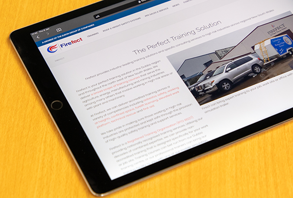 iPad Pro showing the homepage of the Firefect website. Web design by Matthew Hatton Digital