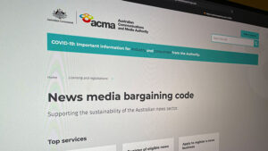 AMCA website showing News Media Bargaining Code page