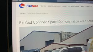 Screenshot of Firefect Confined Space Road Show landing page