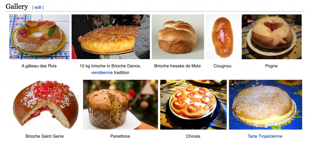 Screenshot of the Wikipedia page for brioche showing what the sweet bread can be used for. None of the options shown are hamburgers.