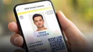 Mock image of a NSW Digital Driver's Licence displayed on an iPhone.