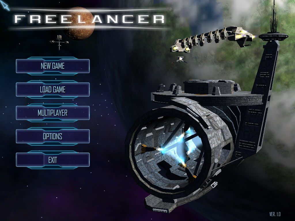 Freelancer home screen showing New Game, Load Game, Multiplayer, Options and Exit buttons