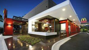 External view of the McDonalds restaurant located outside Sydney Airport, Mascot