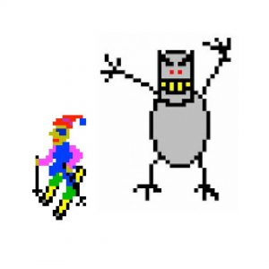 The skier from SkiFree being chased by the Abominable Monster.