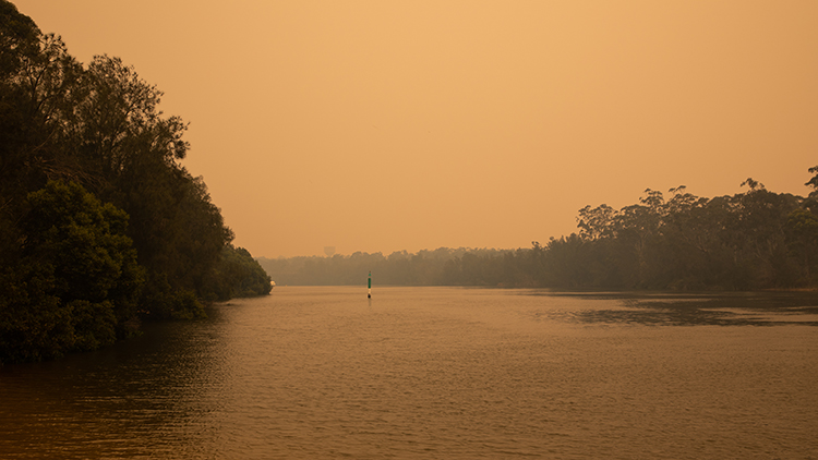 Looking south along the Georges River towards East Hills from Panania. The sky is thick with brown bushfire smoke.