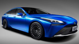 Toyota Mirai concept car, front 3/4 view, in blue.