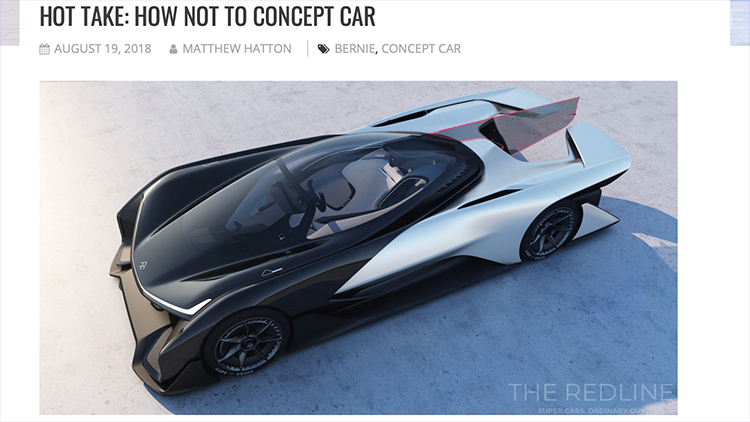 Screenshot of a hot take written for The Redline: How Not to Concept Car